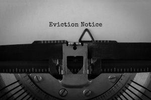 Text Eviction Notice typed on retro typewriter